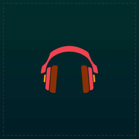tercet: Retro headphone. Color symbol icon on black background. Vector illustration