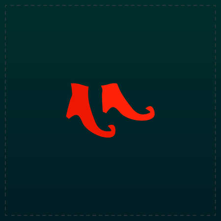 Witch boots. Color symbol icon on black . Vector illustration Illustration