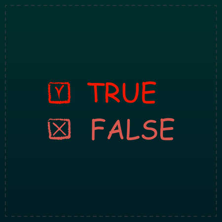 exact: True and False. Color symbol icon on black background. Vector illustration