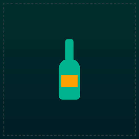 expensive food: Bottle with label. Color symbol icon on black background. Vector illustration Illustration