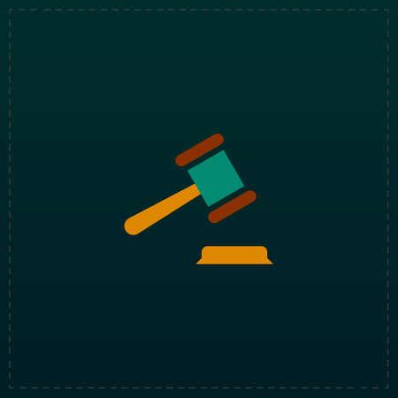 courthouse: Judge gavel. Color symbol icon on black background. Vector illustration Illustration