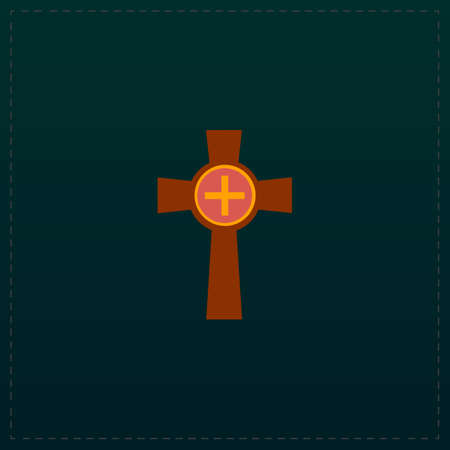 Tombstone - cross gravestone. Color symbol icon on black background. Vector illustration Illustration