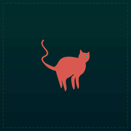 Evil Cat silhouette. Color symbol icon on black background. Vector illustration