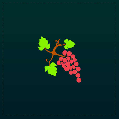 Bunch of grapes. Color symbol icon on black background. Vector illustration