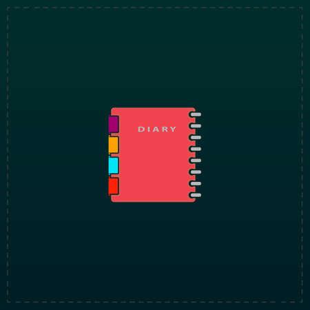 Simple organizer. Color symbol icon on black background. Vector illustration