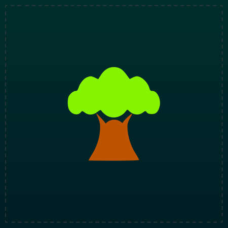 Baobab tree. Color symbol icon on black background. Vector illustration Illustration