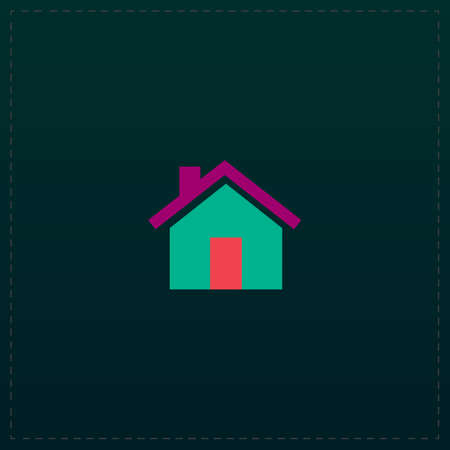 abode: Small house. Color symbol icon on black background. Vector illustration