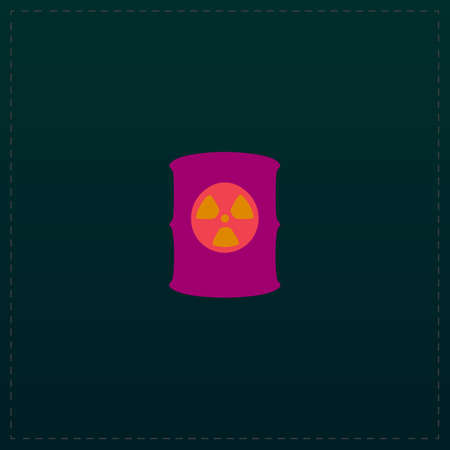 Container with radioactive waste. Color symbol icon on black background. Vector illustration