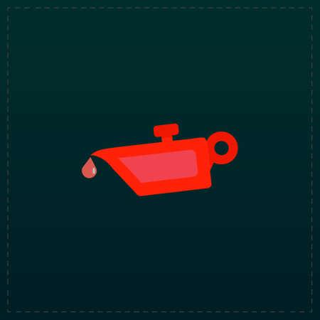 Simple engine oil. Color symbol icon on black background. Vector illustration Illustration