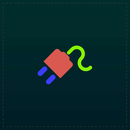 Power cord. Color symbol icon on black background. Vector illustration