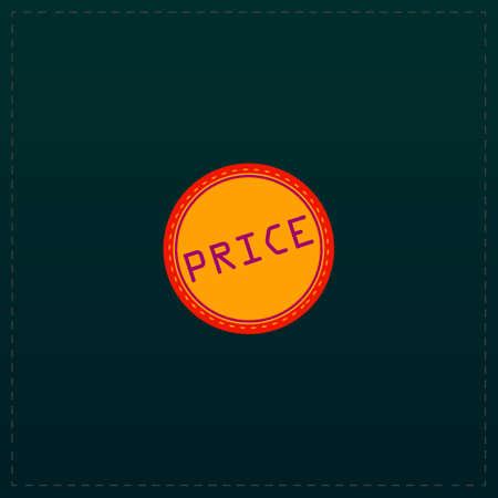 Price Badge Label or Sticker. Color symbol icon on black background. Vector illustration