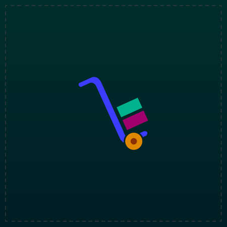 Manual loader. Color symbol icon on black background. Vector illustration