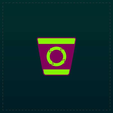 papelera de reciclaje: Papelera de reciclaje. El color del icono del símbolo sobre fondo negro. ilustración vectorial