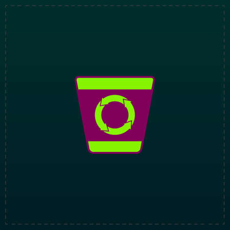 discard: Recycle bin. Color symbol icon on black background. Vector illustration