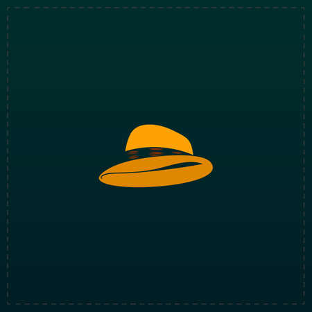 pent: Cowboy traditional hat. Color symbol icon on black background. Vector illustration