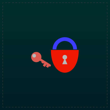 Padlock and key. Color symbol icon on black background. Vector illustration