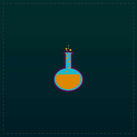 Chemistry bulb. Color symbol icon on black background. Vector illustration