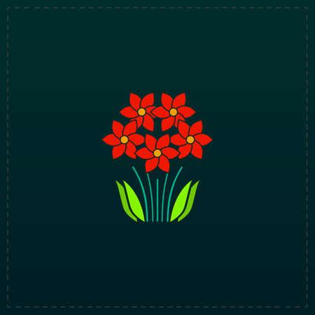 Bush Flower. Color symbol icon on black background. Vector illustration