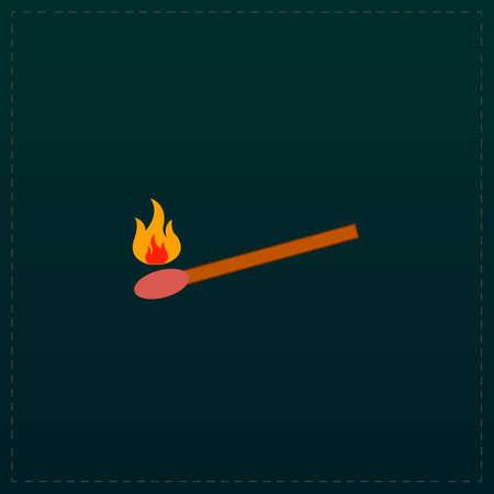 extinguishing: Match. Color symbol icon on black background. Vector illustration