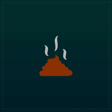 feces: Feces. Clean up after pets symbol. Put it in the bag. Color symbol icon on black background. Vector illustration