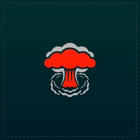 nuke: Mushroom cloud, nuclear explosion, silhouette. Color symbol icon on black background. Vector illustration
