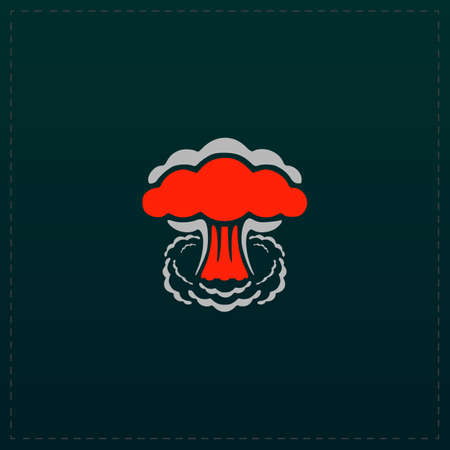 Mushroom cloud, nuclear explosion, silhouette. Color symbol icon on black background. Vector illustration