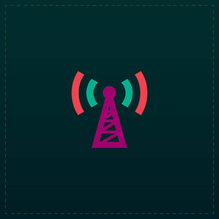 Transmitter. Color symbol icon on black background. Vector illustration