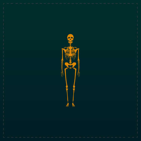 Skeletons - human bones. Color symbol icon on black background. Vector illustration