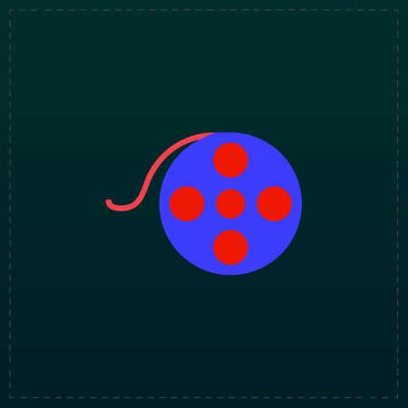 Film reel. Color symbol icon on black background. Vector illustration