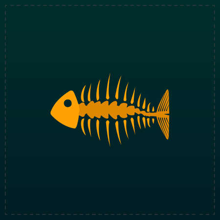 dead fish: Fishbone. Color symbol icon on black background. Vector illustration