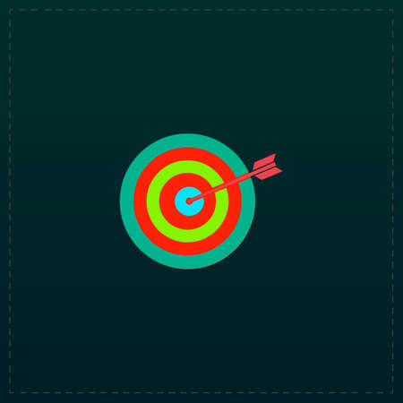 A dart is in the center of a dartboard. Target concept. Color symbol icon on black background. Vector illustration