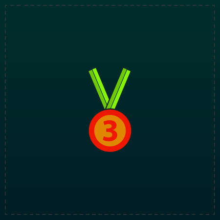 Bronze medal with ribbon. third prize, award accomplishment. 3nd place. Color symbol icon on black background. Vector illustration Illustration