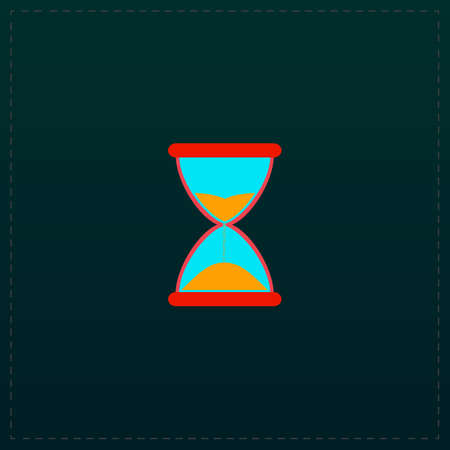 fifteen: Hourglass time. Color symbol icon on black background. Vector illustration
