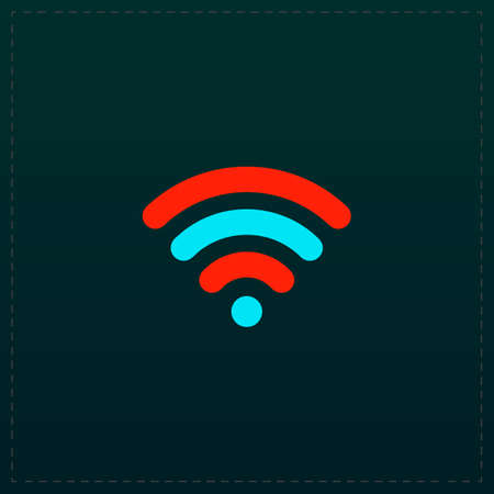 Free wi fi. Color symbol icon on black background. Vector illustration