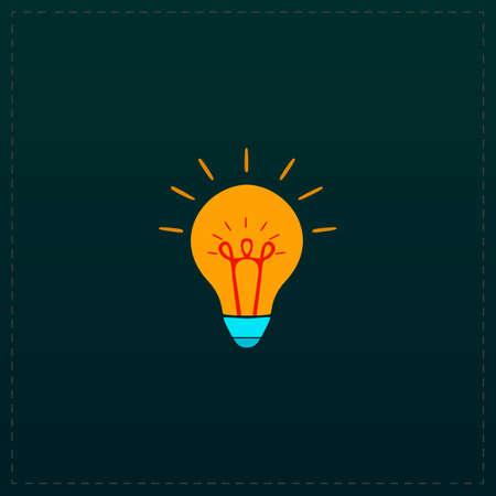 scriibble: Light bulb. Color symbol icon on black background. Vector illustration Illustration