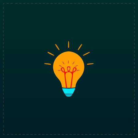 Light bulb. Color symbol icon on black background. Vector illustration Illustration