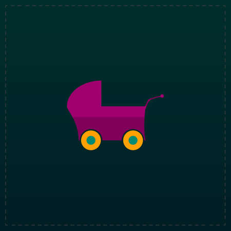 buggy: Buggy. Color symbol icon on black background. Vector illustration