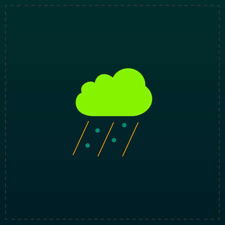 Cloud it is raining and hail. Color symbol icon on black background. Vector illustration