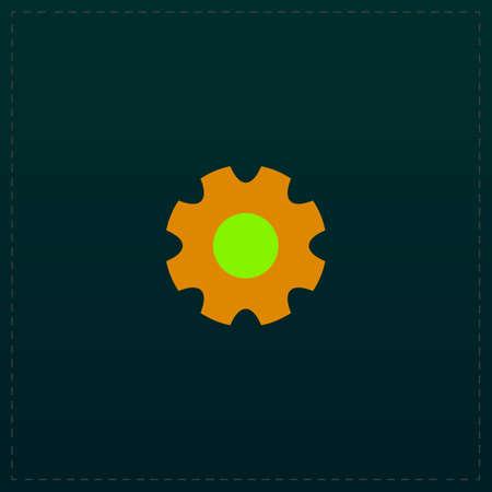 rackwheel: gear. Color symbol icon on black . Vector illustration