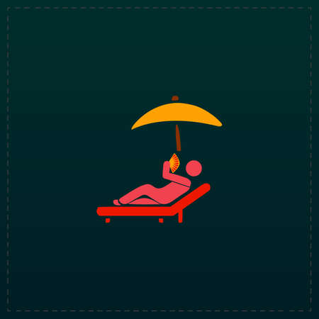 Relax under an umbrella on a lounger. Color symbol icon on black . Vector illustration Illustration
