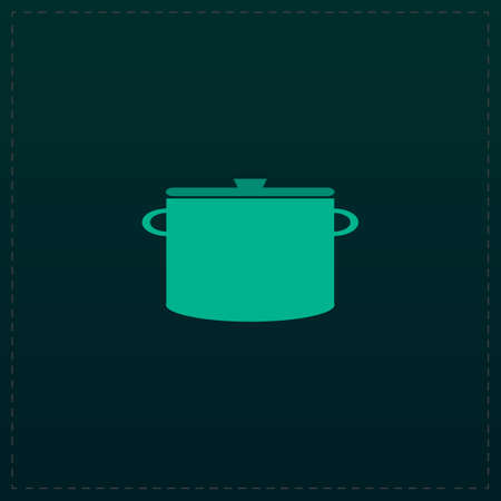 borscht: Kitchen pan. Color symbol icon on black . Vector illustration