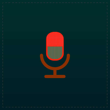 Retro microphone. Color symbol icon on black background. Vector illustration