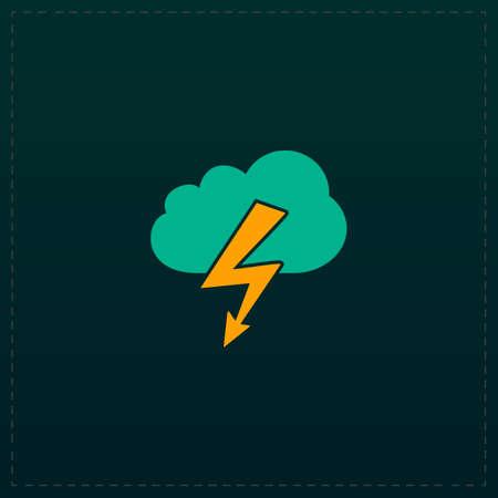 Cloud lightning. Color symbol icon on black background. Vector illustration