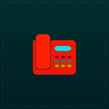 faxing: Fax machine. Color symbol icon on black background. Vector illustration