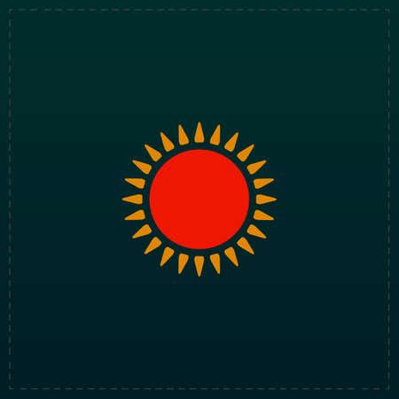 Sun. Color symbol icon on black background. Vector illustration