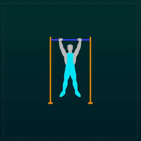 and the horizontal man: Horizontal bar and man. Color symbol icon on black background. Vector illustration Illustration
