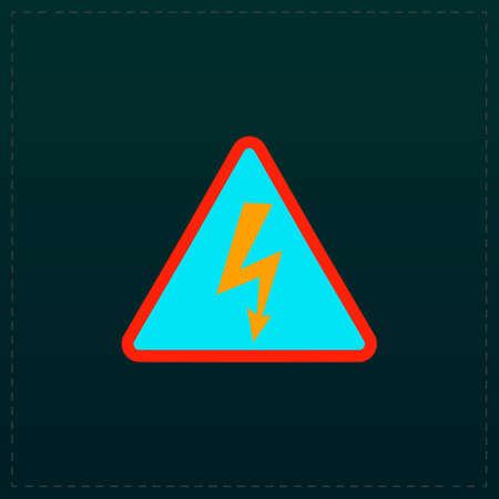 voltage sign: High voltage Color symbol icon on black background. Vector illustration