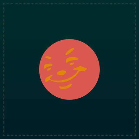 Smile. Color symbol icon on black background. Vector illustration