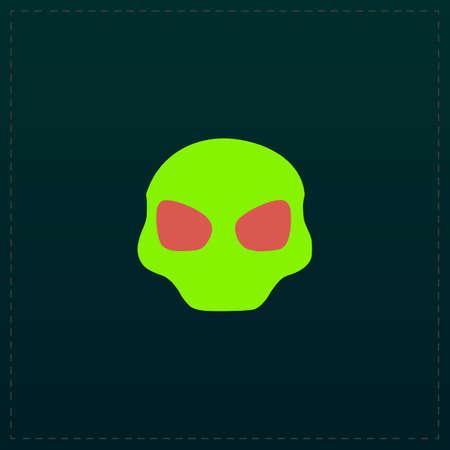 Alien Head. Color symbol icon on black background. Vector illustration Ilustrace