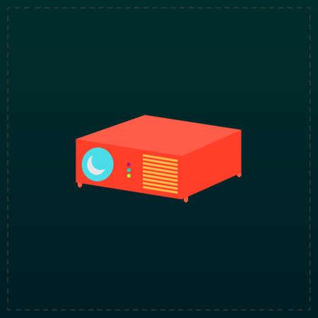 Projector. Color symbol icon on black background. Vector illustration Illustration
